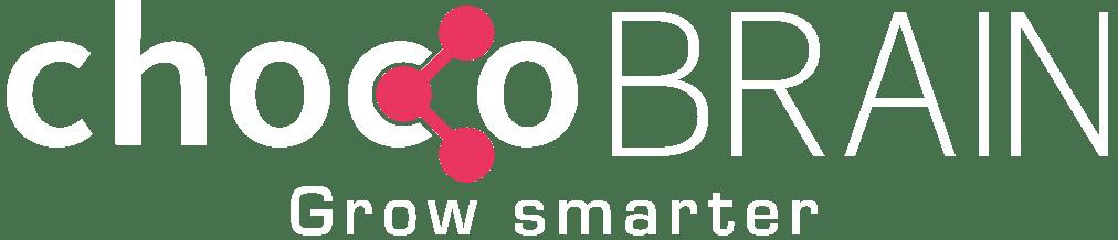 chocoBRAIN Logo weiß mit Claim grow smarter
