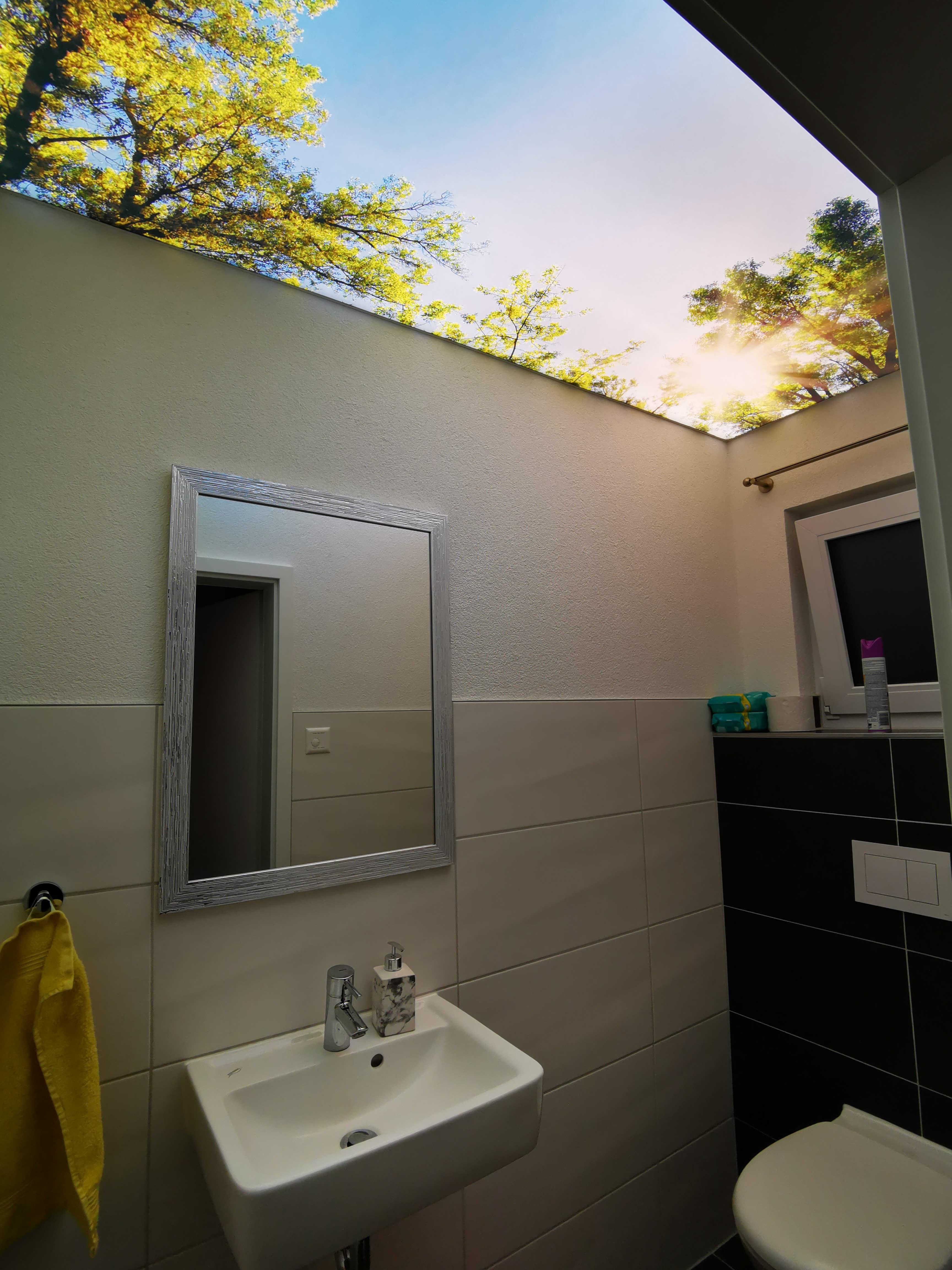 Badezimmer mit einer Lichtdecke
