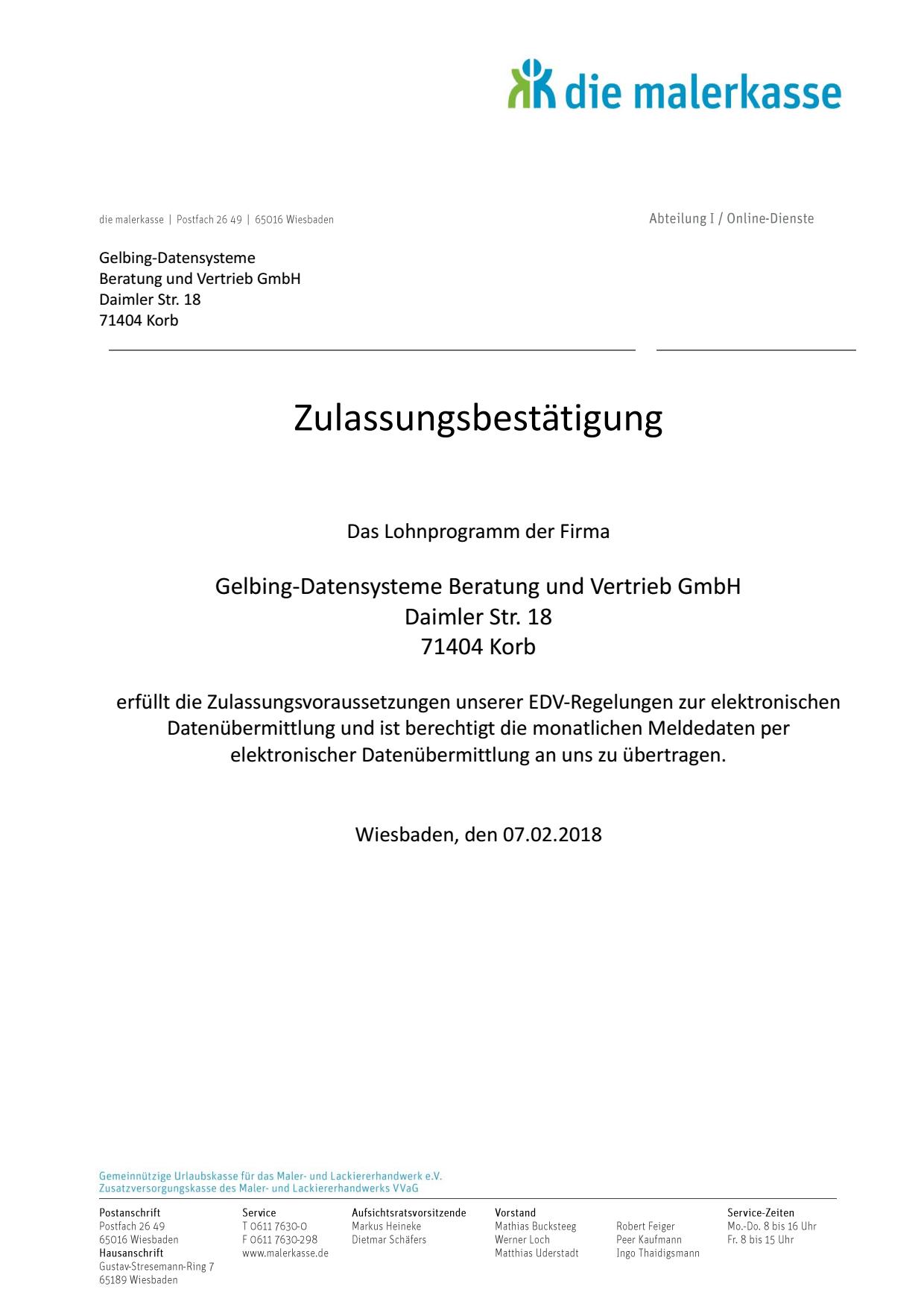 Zertifikat Malerkasse Gelbing