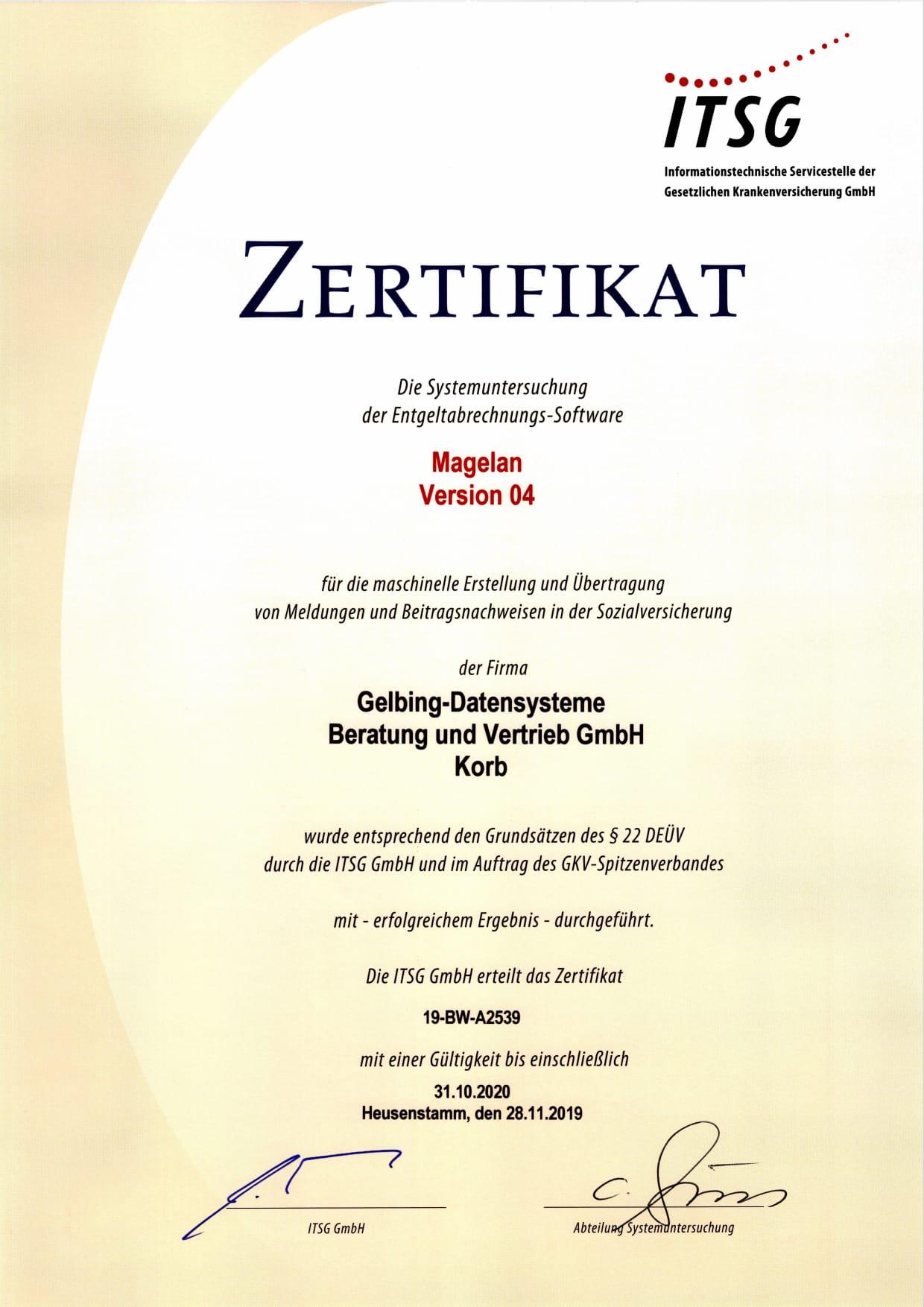 ITSG Zertifikat Gelbing