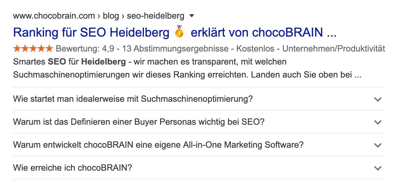 FAQs in Google Suchergebnis