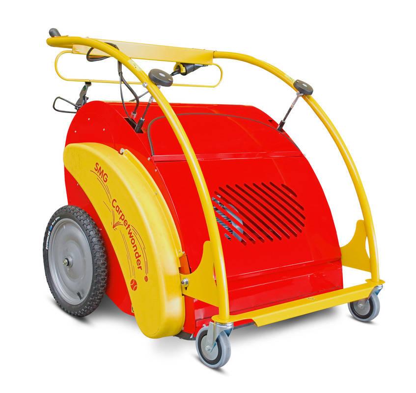CarpetWonder Tennishallen Reinigung Teppichsauger Farbe gelb und rot