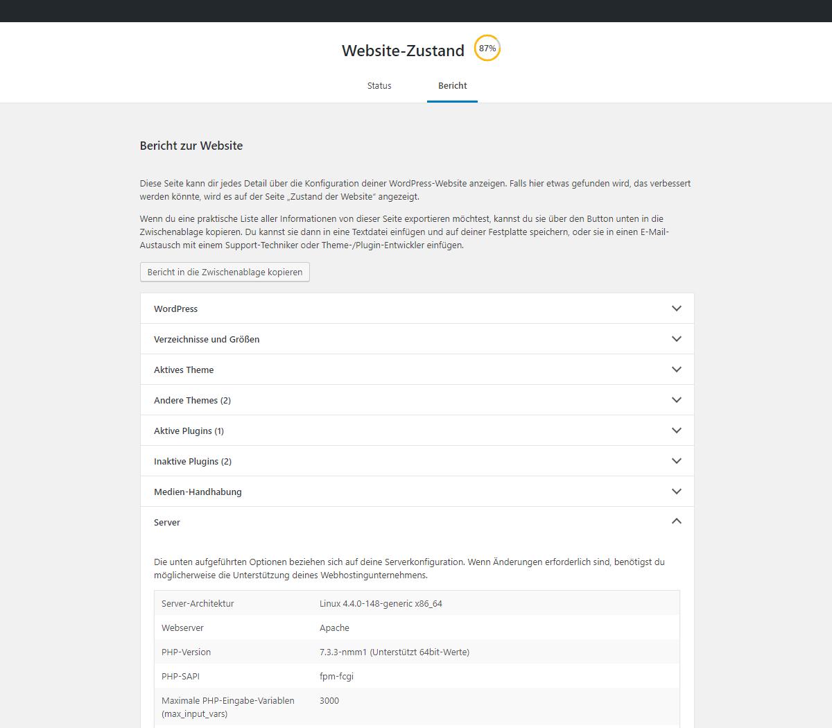 Wordpress Website Zustand Bericht