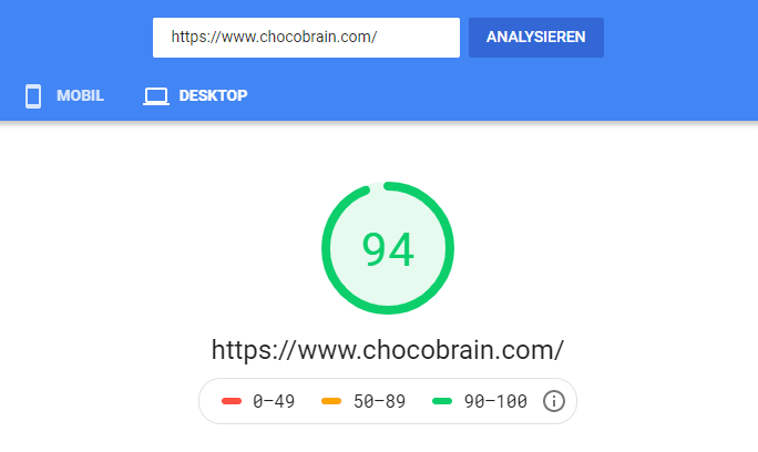 Page Speed Test chocoBRAIN.com
