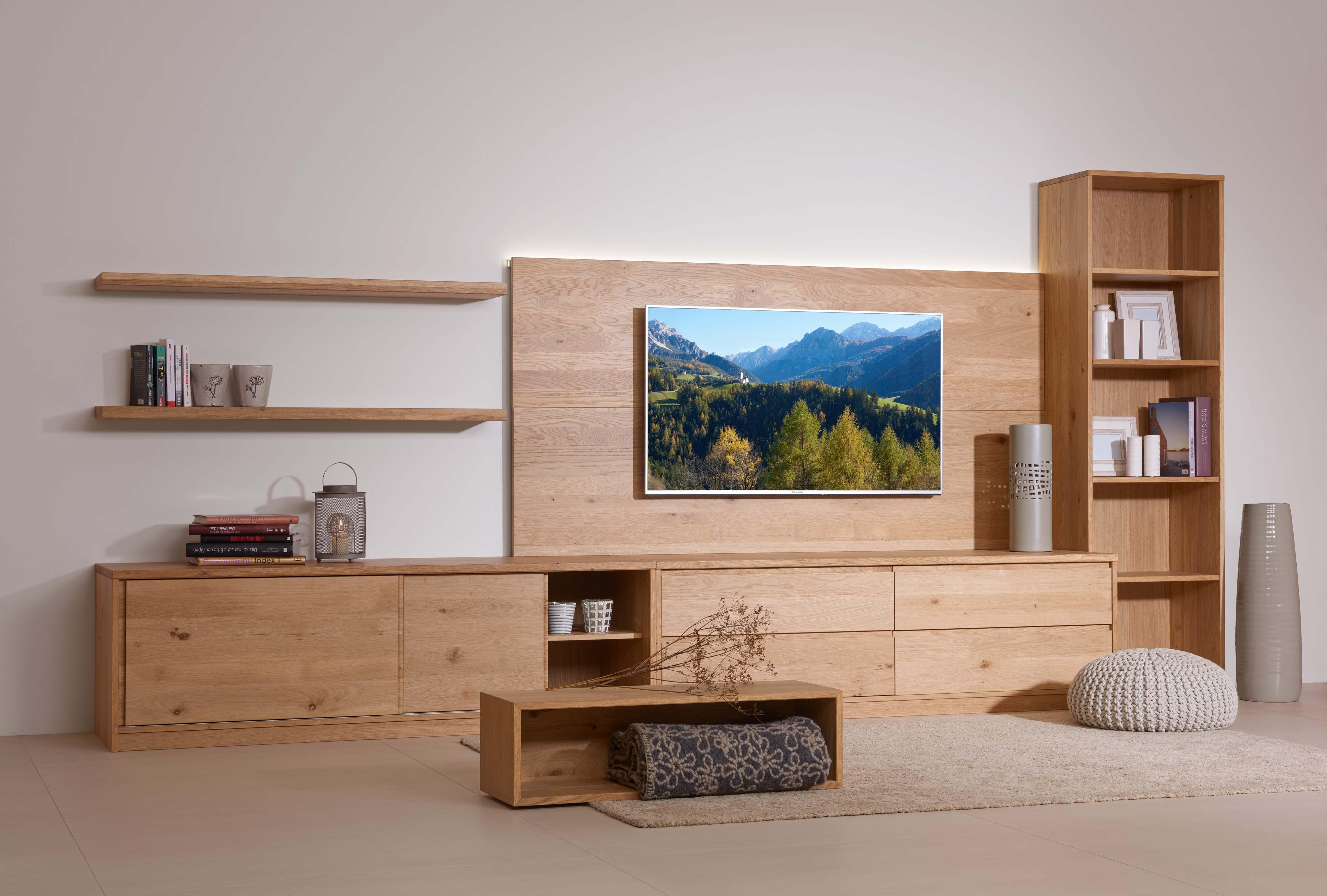 Garderform Wohnwand Holz Eiche
