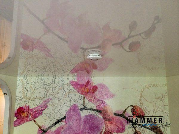 Spanndecke weiß glänzend mit Rauchmelder Wohnzimmer