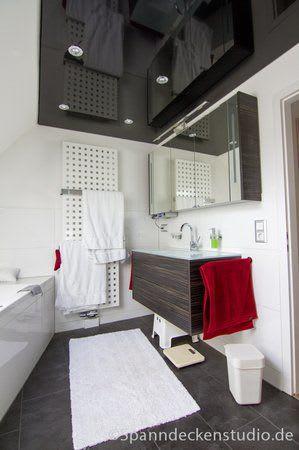 Spanndecke schwarz glänzend Badezimmer Sicht 2