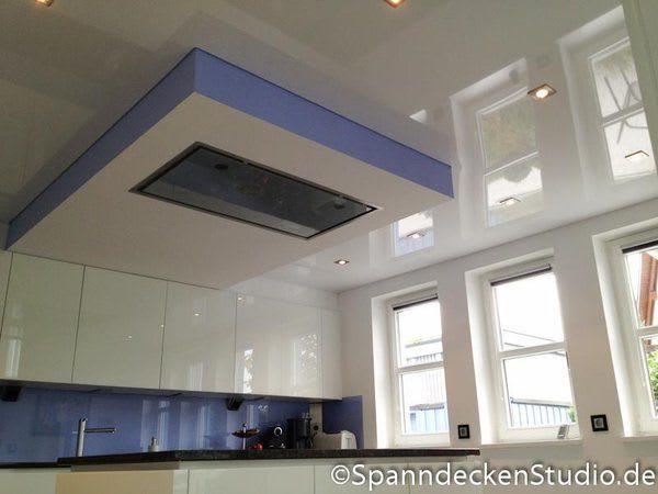 Spanndecke weiß glänzend mit Beleuchtung Küche
