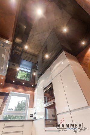 Spanndecke schwarz glänzend mit Beleuchtung Küche