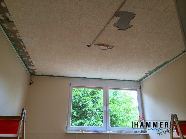Spanndecke vorher im Umbau Renovierung