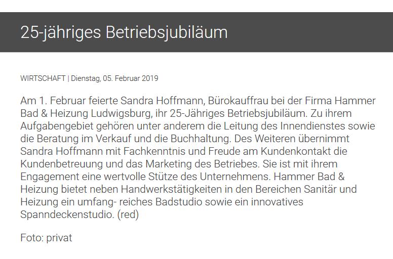 25 jähriges Betriebsjubiläum von Sandra Hoffmann