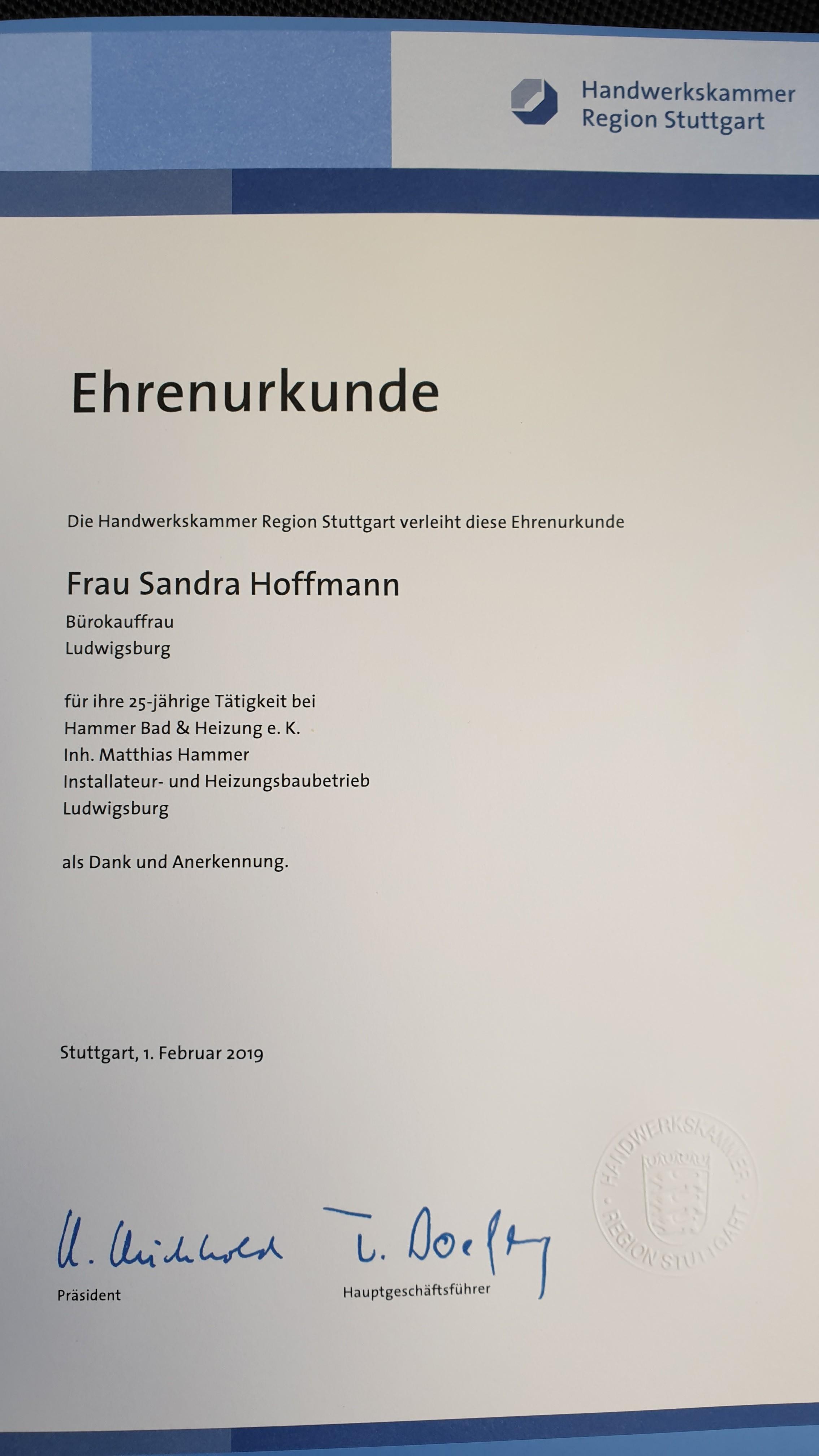 Ehrenurkunde Sandra Hoffmann Handwerkskammer