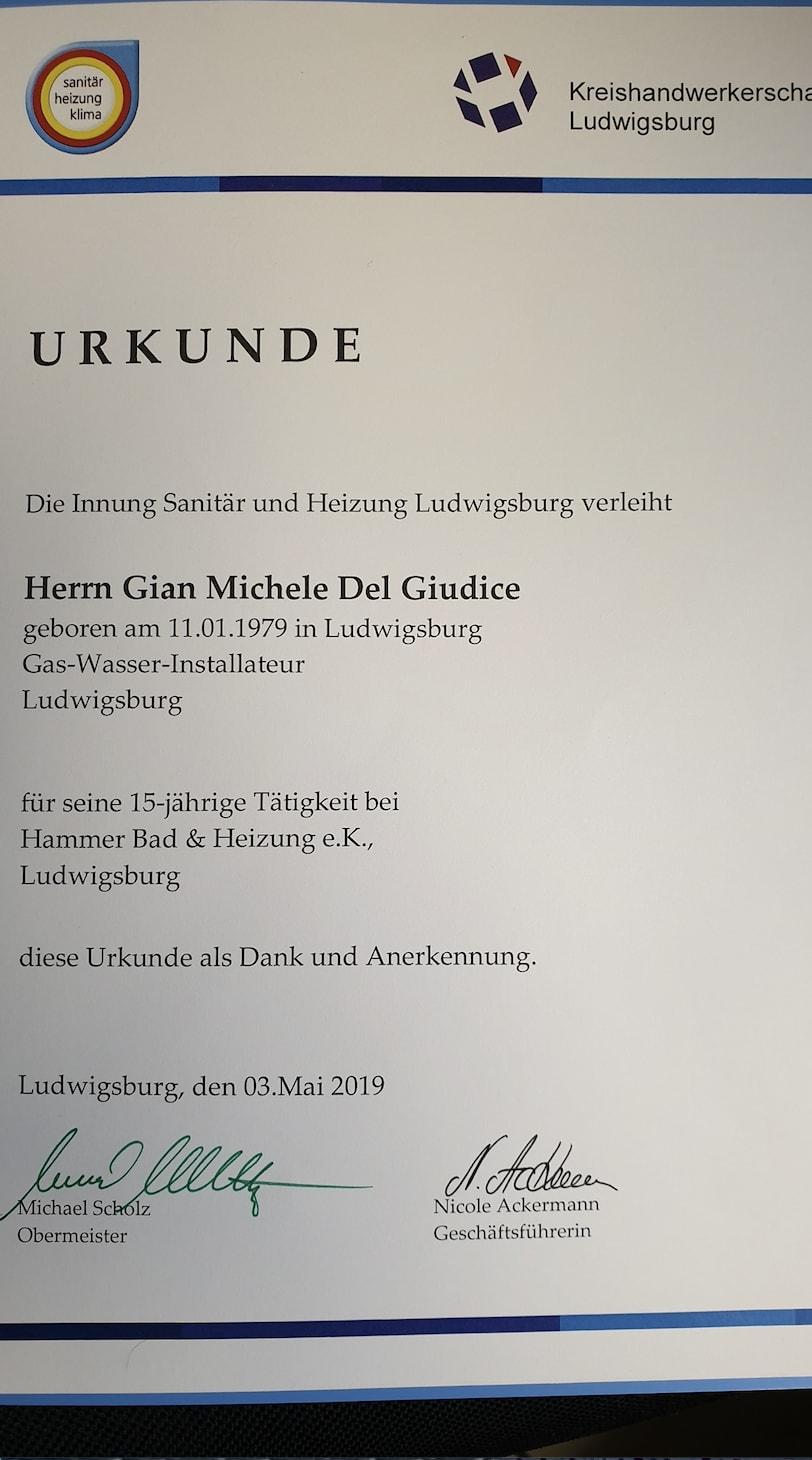 Gian Michele Del Giudice Urkunde