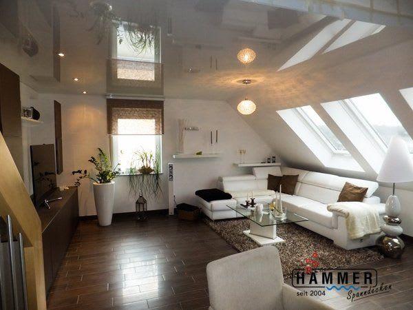Wohnzimmer in Backnang - Spanndecke Reinweiss Glanz