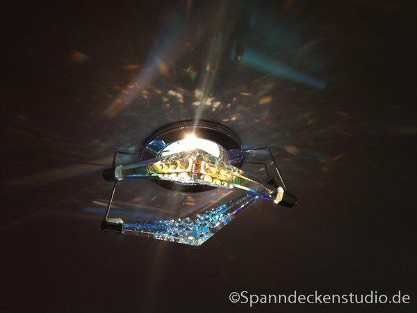 Lampe Glas Leuchtend mit goldenen und blauen Details eckig