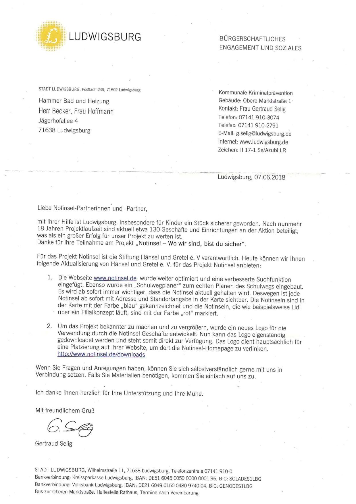 Bürgerliches Engagement von Hammer Bad und Heizung in Ludwigsburg