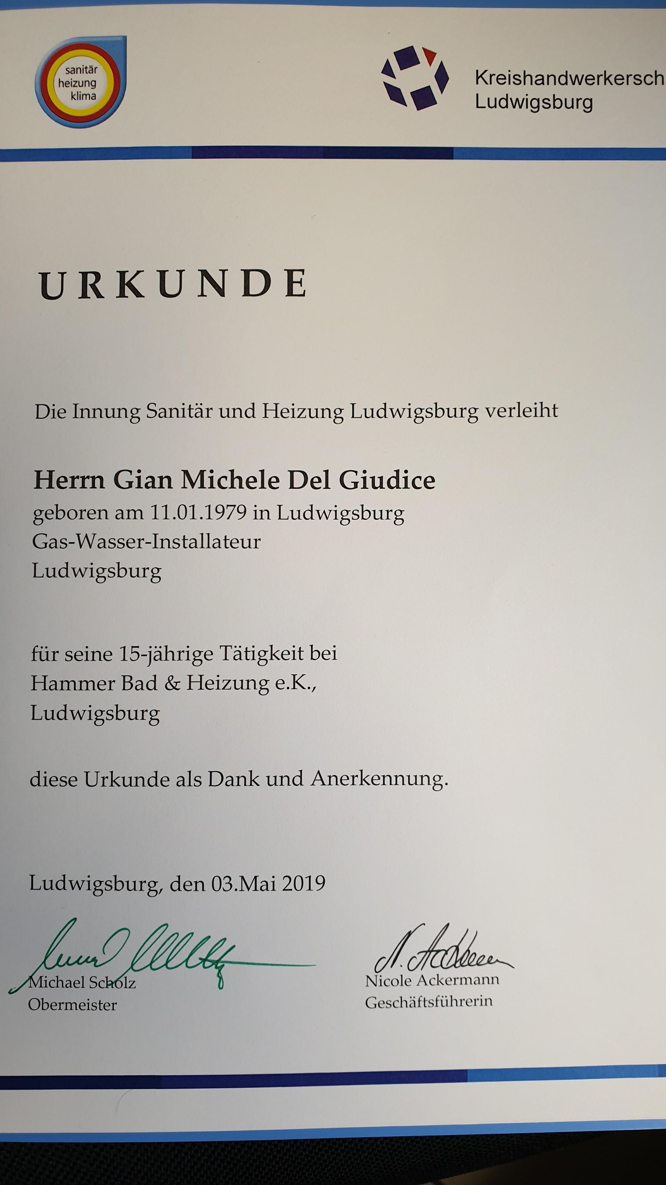 Urkunde Gian Michele Del Guidice