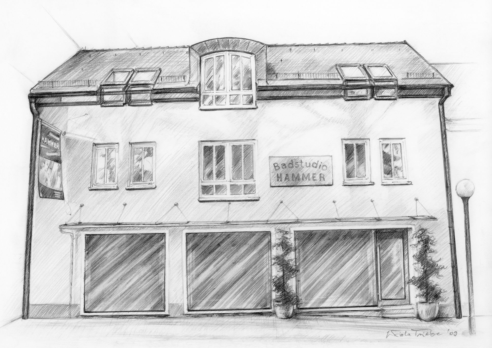 Badstudio Hammer Haus gemalt in schwarz weiß