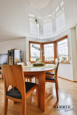 Spanndecke Wohnzimmer reinweiß glanz Essbereich