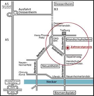 Anfahrt Karte Implantate Heidelberg