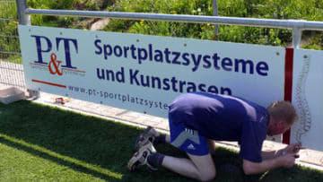 Bandenwerbung P&T Sportplatzsysteme