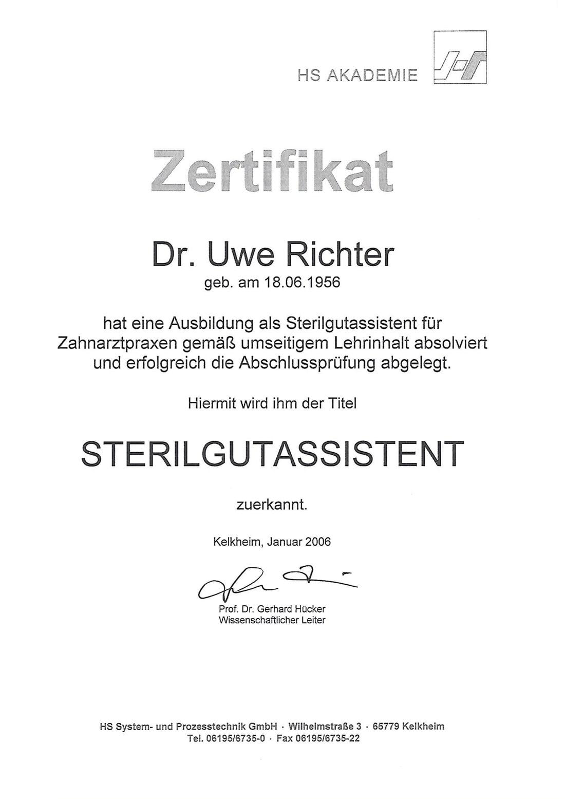 Zertifikat Sterilgutaissistent Dr Richter