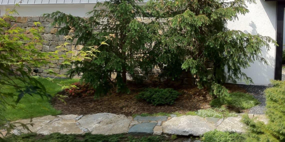 Naturstein vor Bett mit Busch