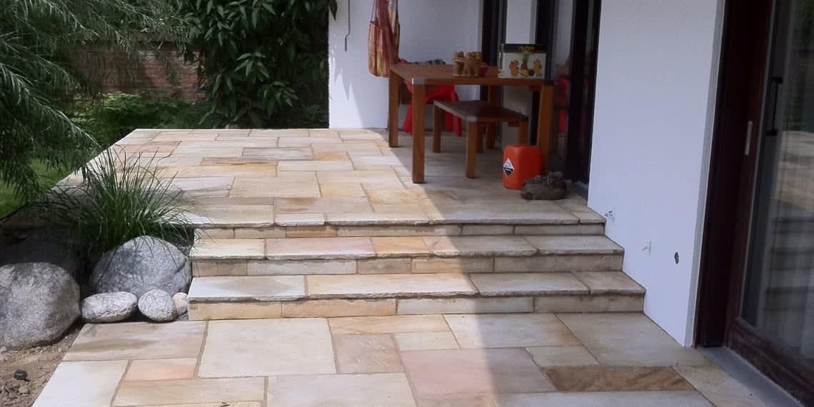 Jura Kalk Platten als Terrasse