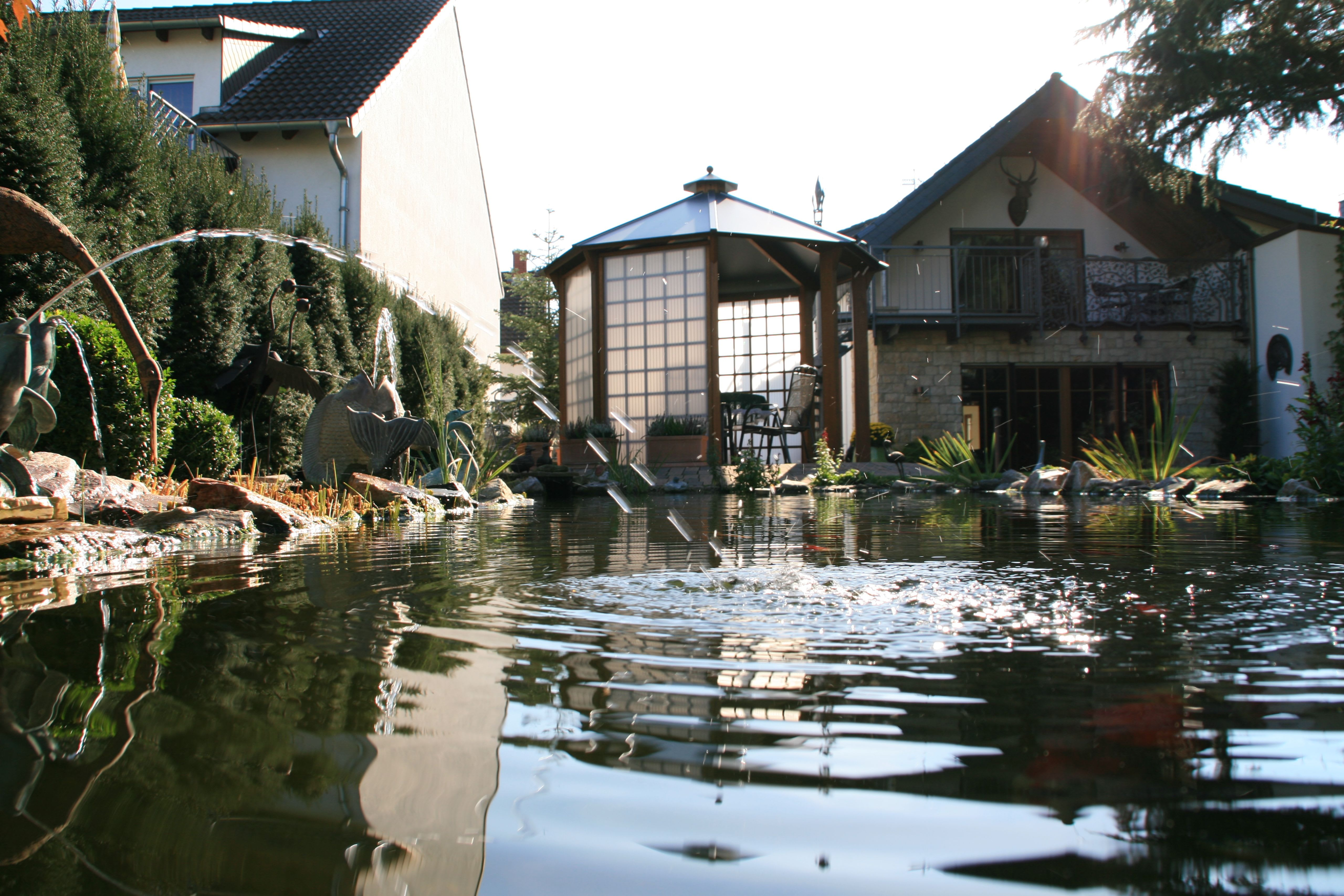 Haus mit Teich und Pavillon