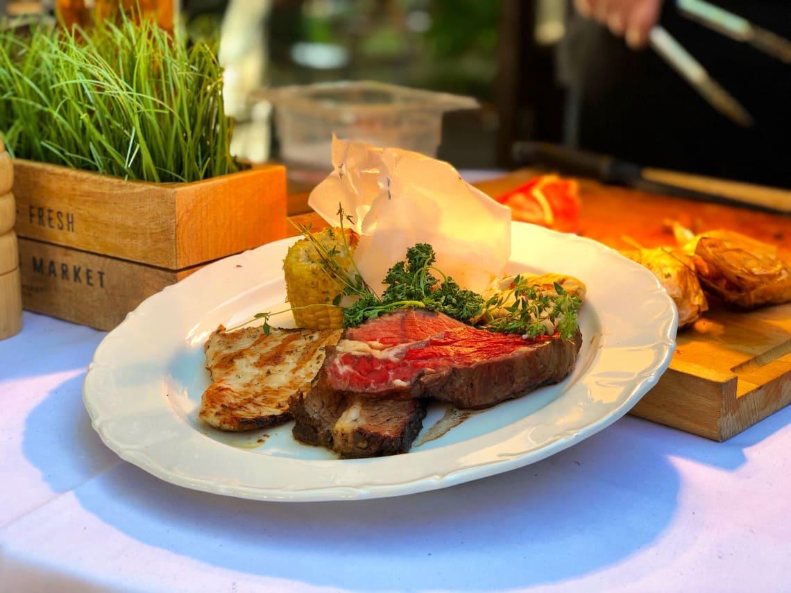 Beef, Chicken und Grillgemüse