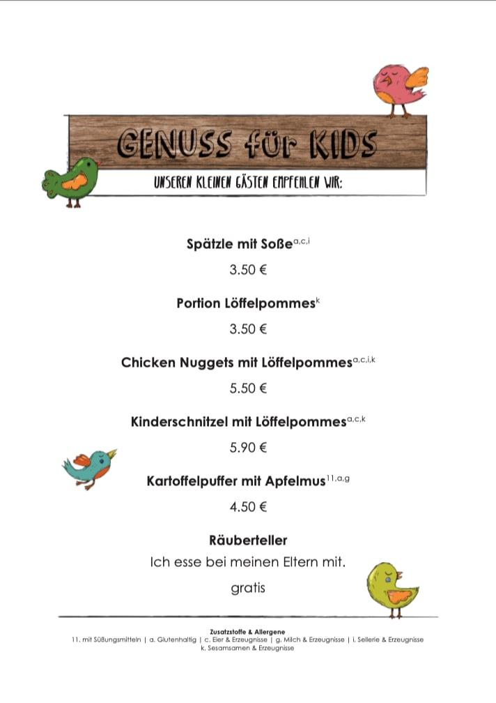 Alte Kelter Kinder-Speisekarte