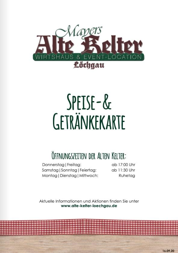Alte Kelter Speise- & Getränkekarte