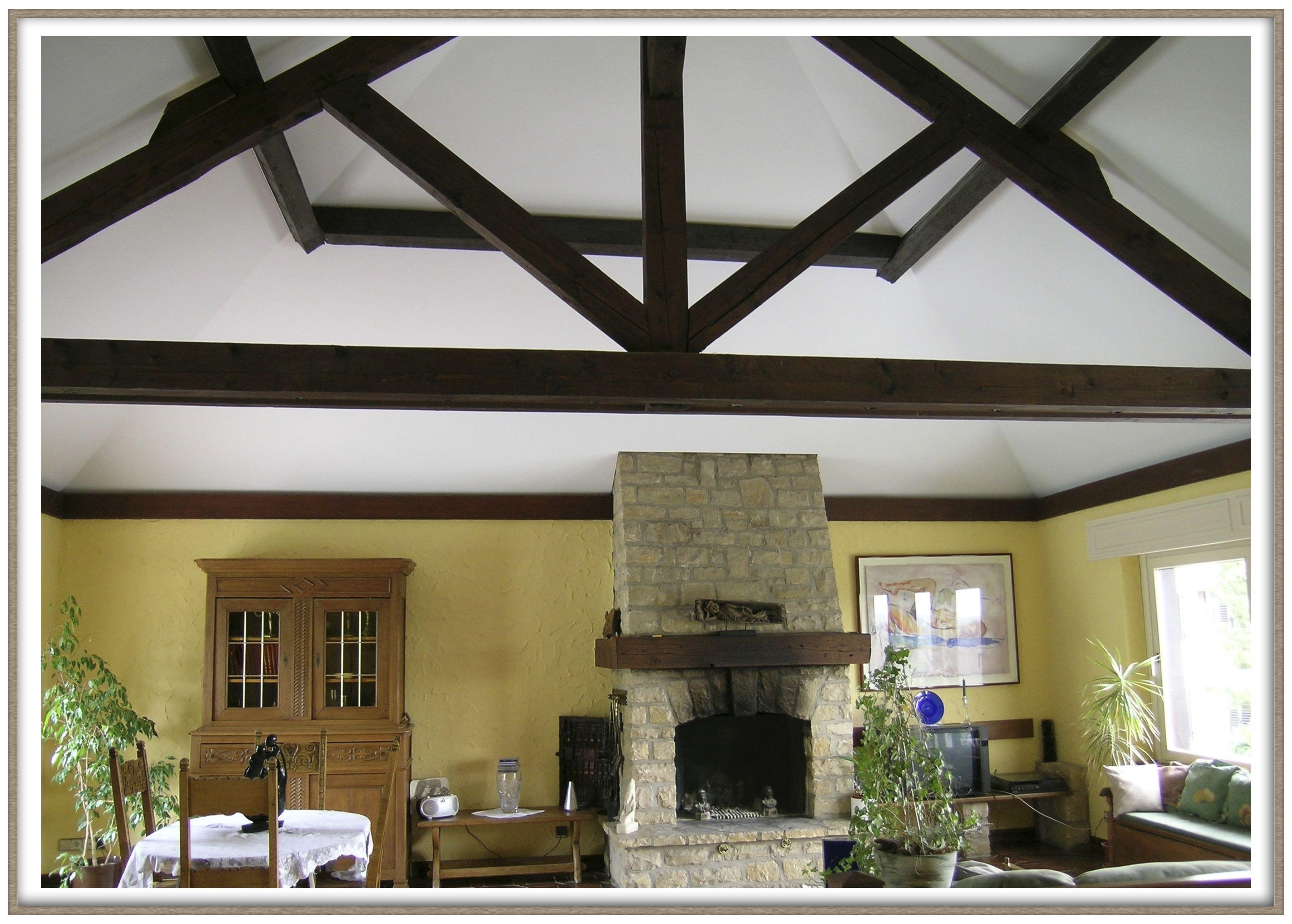 Wohnzimmer weiße Spanndecke mit Kamin