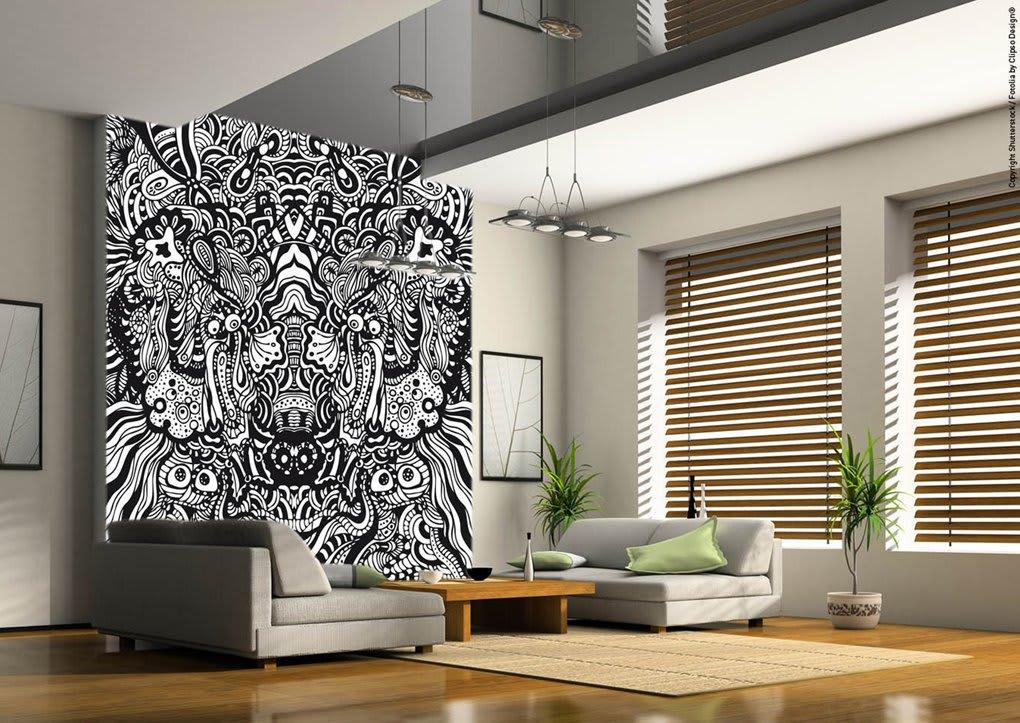 Spannwand im Wohnzimmer Muster schwarz weiß