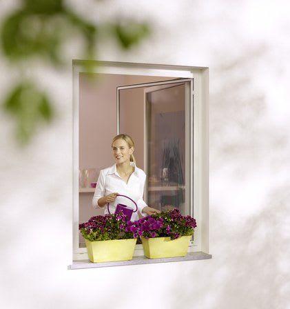 Frau am Fenster mit Blumen und Insektenschutz