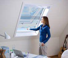 Frau am Dachfenster in blauer Bluse Insektenschutz