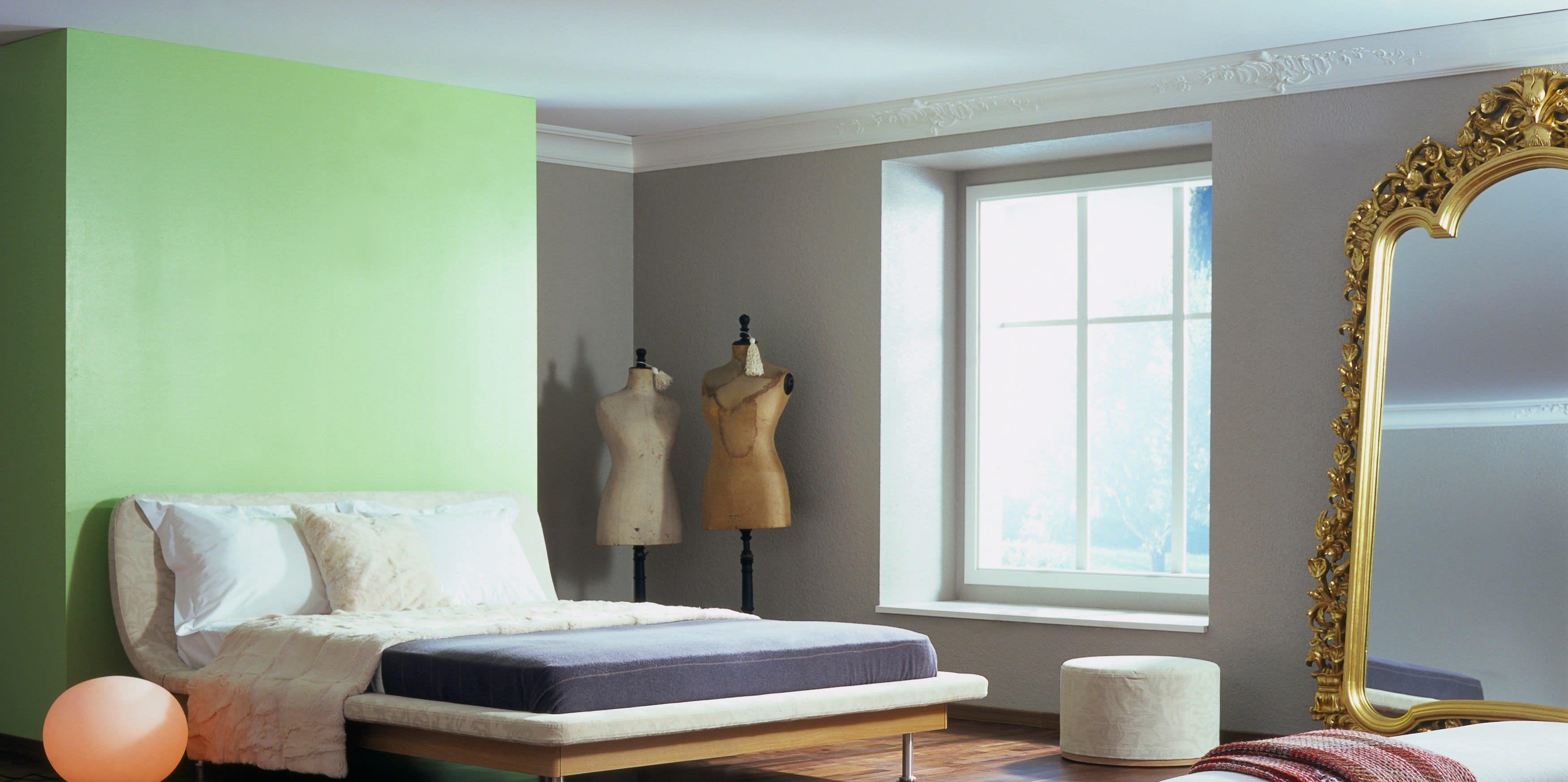 Spanndecke mit grüner und grauer Wand Clipso Schlafzimmer