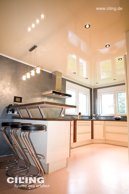 Spanndecke Küche, weiß in hochglanz