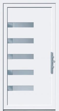 3 Haustür mit 5 Rechtecken und weißem Rahmen kleiner Türgriff