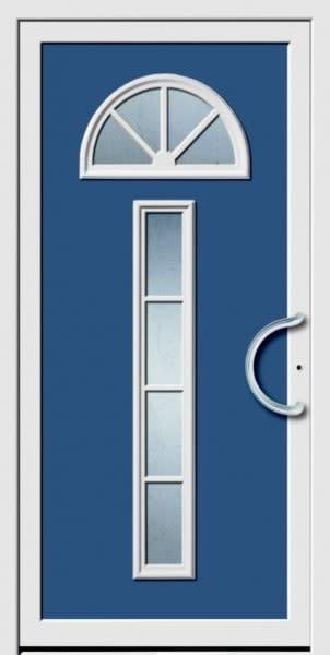 4 Haustür mit blau und weiß und halb runder Türgriff