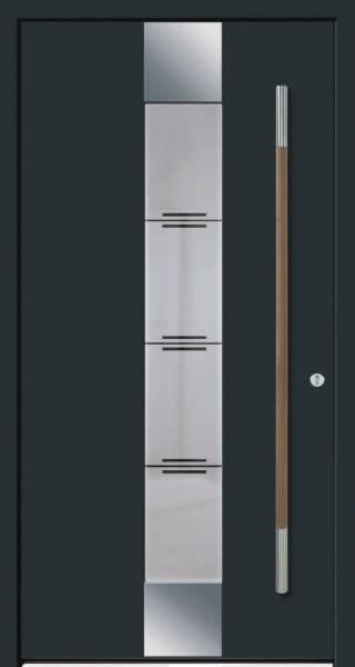 6 Haustür dunkel grau mit silbe und langer Holz Silber Türgriff