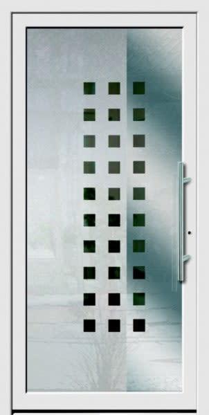 7 Haustür weiß grau mit vielen kleinen Vierecken
