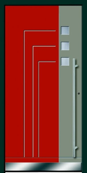 8 Haustür in rot kaki und dunkelgrau mit langem Türgriff