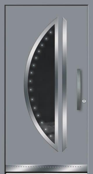 11 Haustür silber grau mit großem Halbkreis kurzer Türgriff