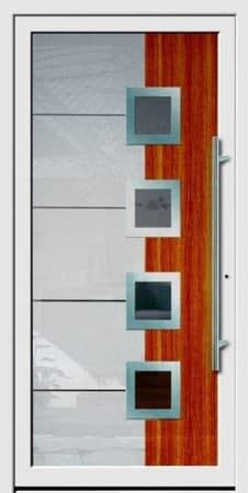 14 Haustür silber grau Holz und 5 Vierecke mit Glasteilen