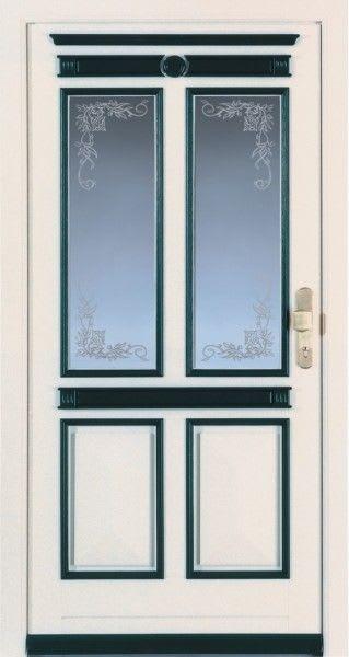 3 Haustür weiß tannengrün und Glas mit Blumen