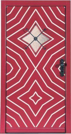5 Haustür rot mit weißen Mustern Altmodisch
