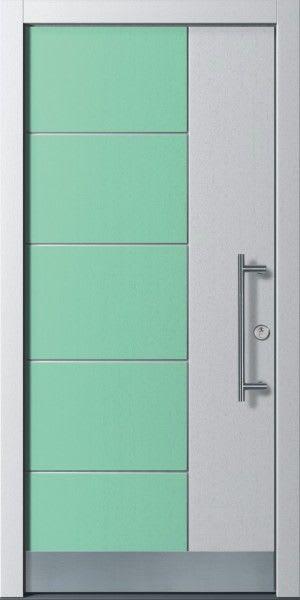9 Haustür silbergrau mit grünen Verzierung grüne Rechtecke