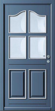 13 Haustür Blaue verschnörkelt mit Glasrechtecken