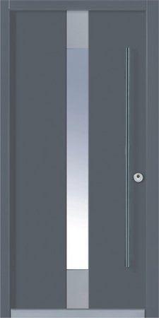 15 Haustür Grau mit dünnem Glas Balken